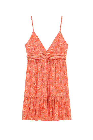 Short printed dress with straps