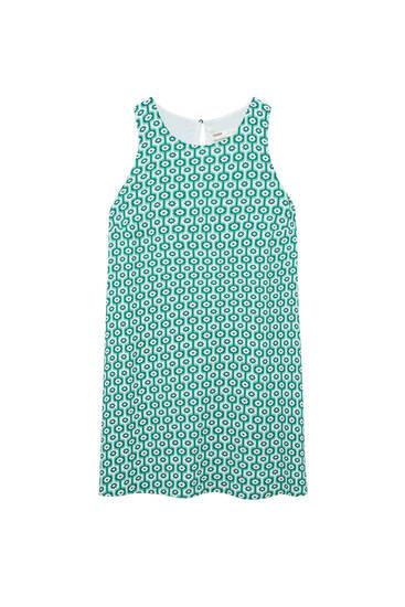 Short A-line retro print dress