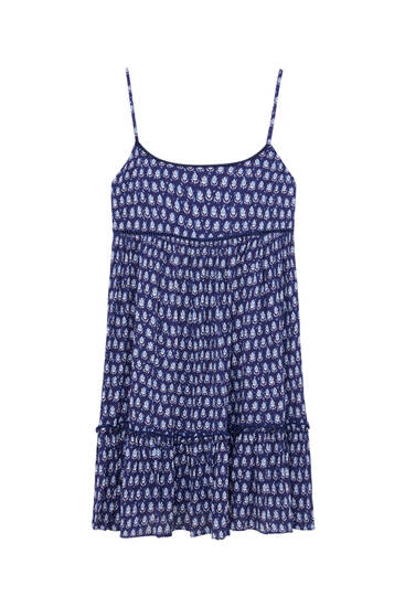 Short strappy dress with braided detail