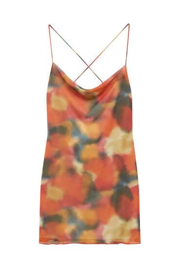 Short printed tulle dress