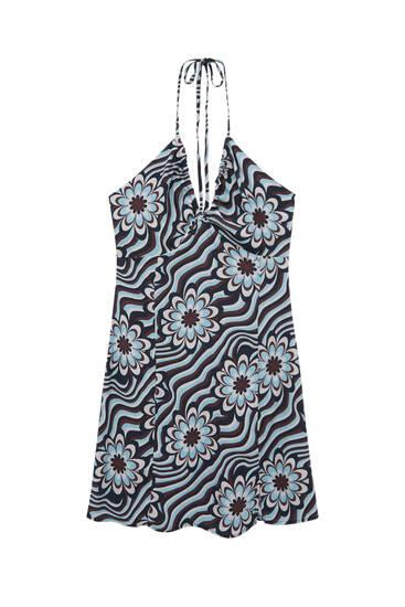 Short retro print dress
