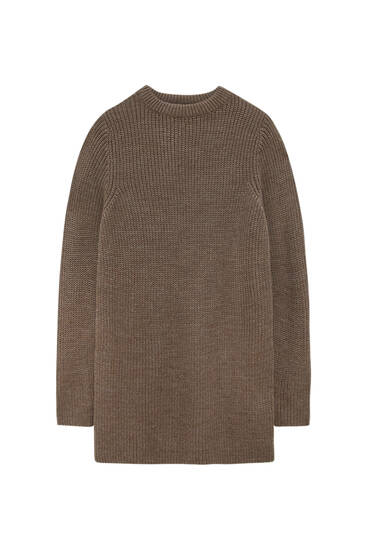 Long sleeve purl-knit dress