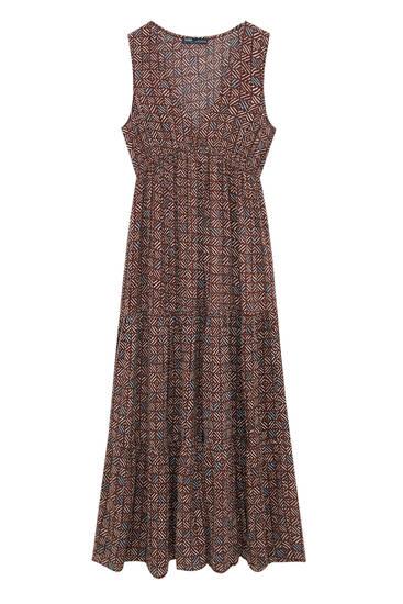 Printed panelled midi dress