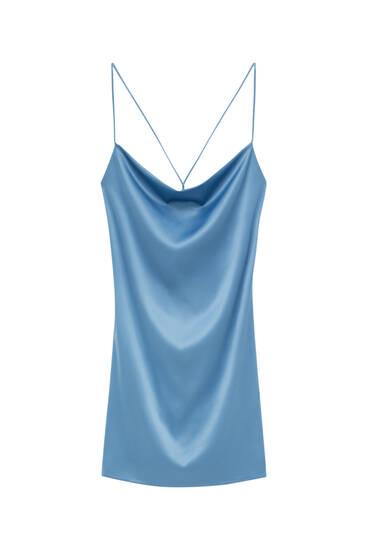 Платье из сатина со сборкой на вырезе