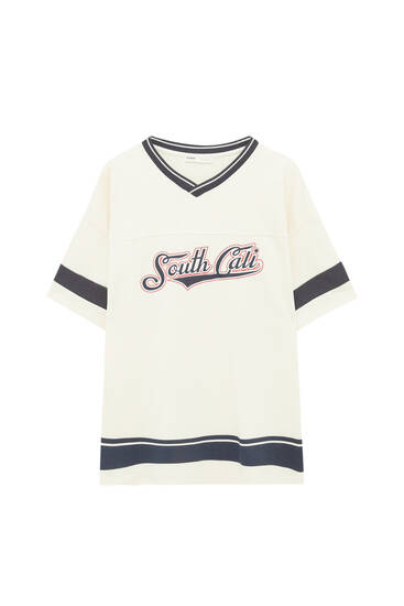 White varsity T-shirt with contrast details