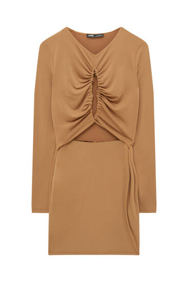 Cut-out dress with draped neckline