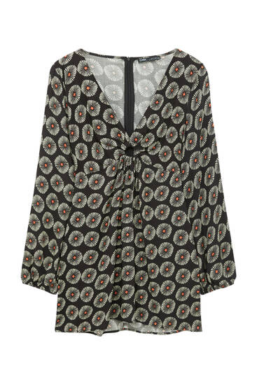 Printed short dress with ring detail