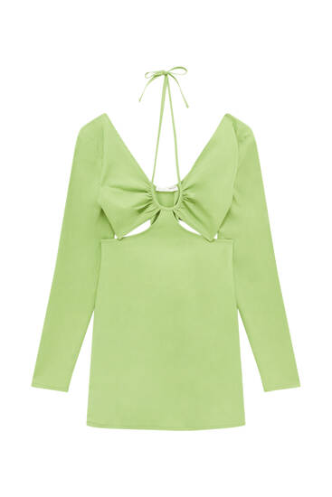 Green cut-out dress with gathering