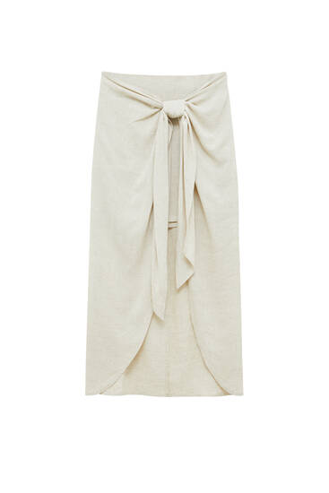 Rustic wrap skirt with knot