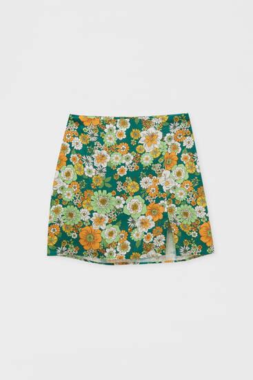 Minifalda flores abertura viscosa