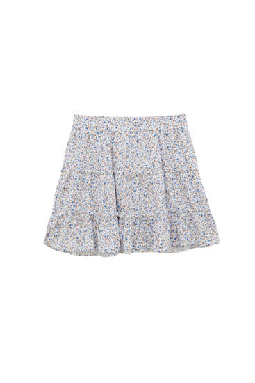 Floral mini skirt with ruffles - ECOVERO™ viscose (at least 50%)