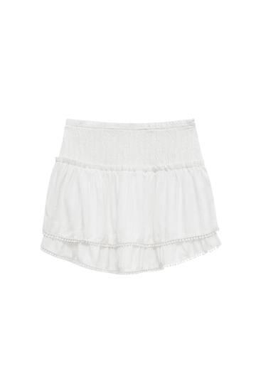 Ruffled panelled lace trim mini skirt