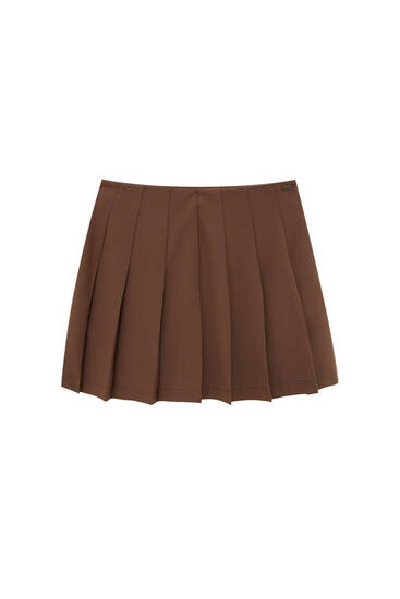 Basic box pleat mini skirt