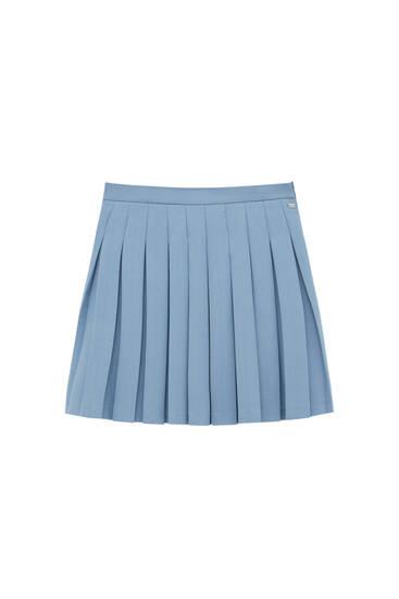 Blue box pleat mini skirt