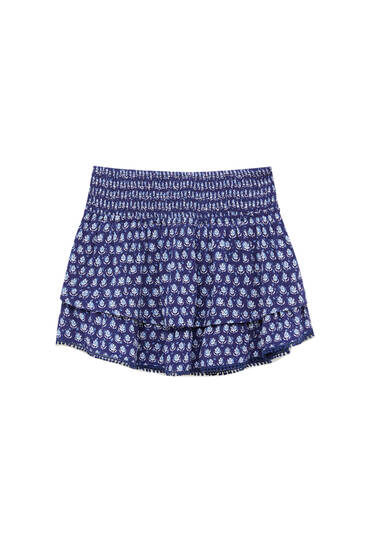Ruffled print lace trim mini skirt