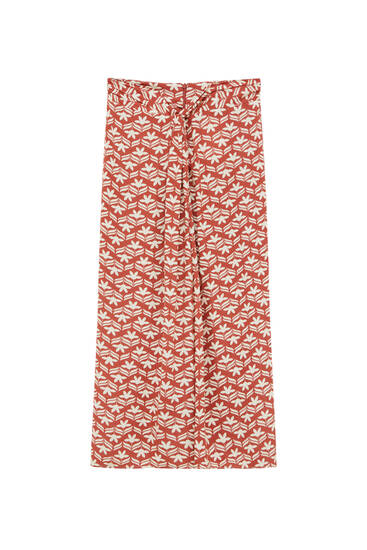Long printed skirt with knot