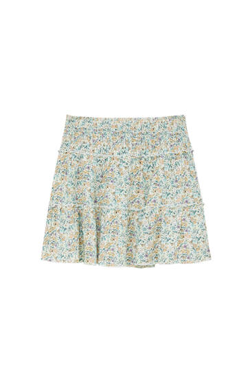 Ruffled panel mini skirt