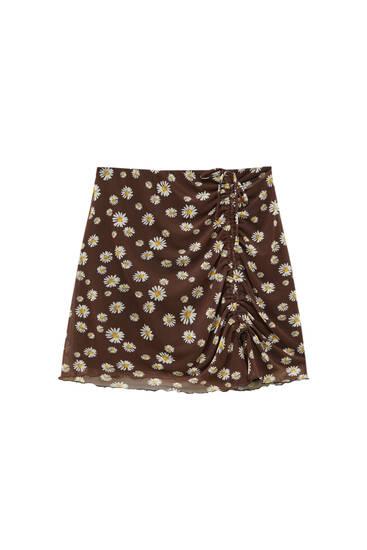 Daisy print tulle mini skirt