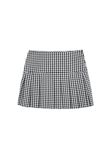 Check box pleat mini skirt