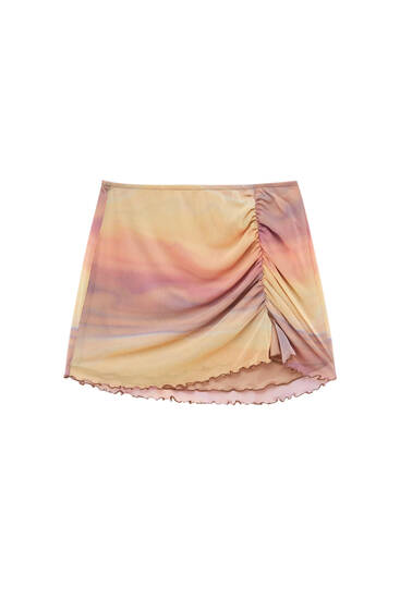Printed tulle skirt with seams