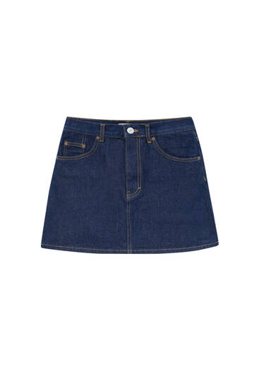 Denim mini skirt with contrast seams
