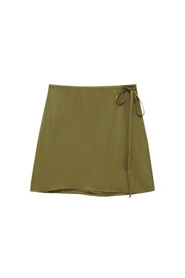 Khaki satin wrap mini skirt