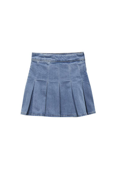Denim mini skirt with box pleats - contains recycled cotton