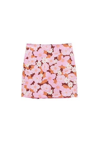 Basic retro floral mini skirt