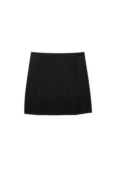 Satin wrap mini skirt