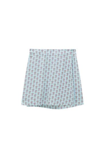 Printed wrap mini skirt