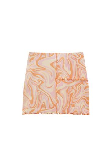 Minifalda print psicodélico costuras vistas