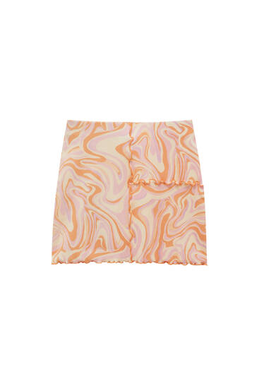 Psychedelic print mini skirt with visible seams