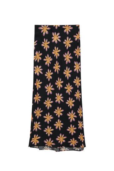 Черная юбка миди с цветочным принтом