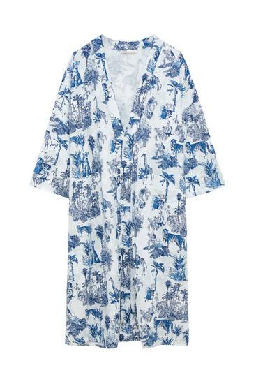 Printed viscose kimono