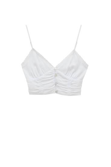 Hvid, kort top med stropper – ECOVEROTM-viskose (mindst 50 %)