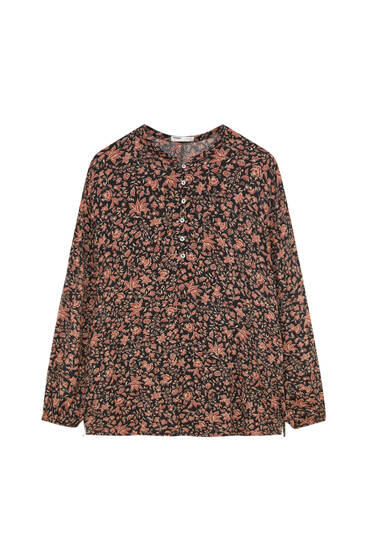 Printed tunic with buttons