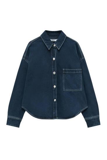 Cropped wide-fit denim shirt