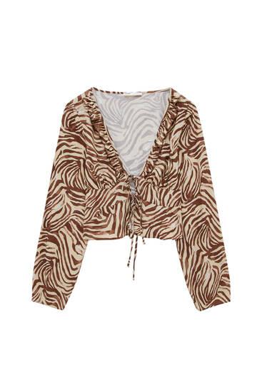 Blusa estampado cebra marrón