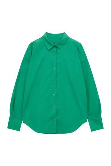Базовая зеленая рубашка из поплина