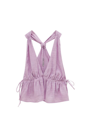 Strappy top with knotted back