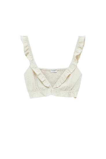 Crop top with ruffled straps