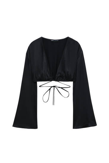 Satin finish blouse with ties
