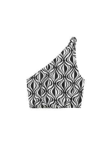 Asymmetric printed top