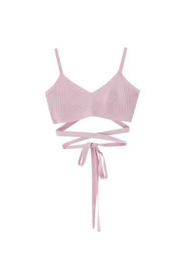 Pink, finstrikket, kort top