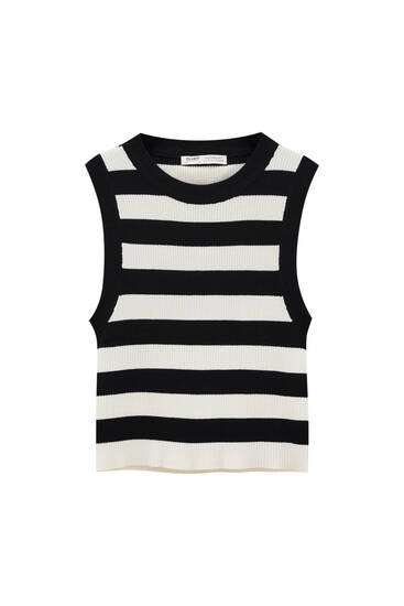 Striped ribbed knit crop top