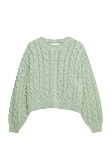 Cable-knit sweater with a round neck