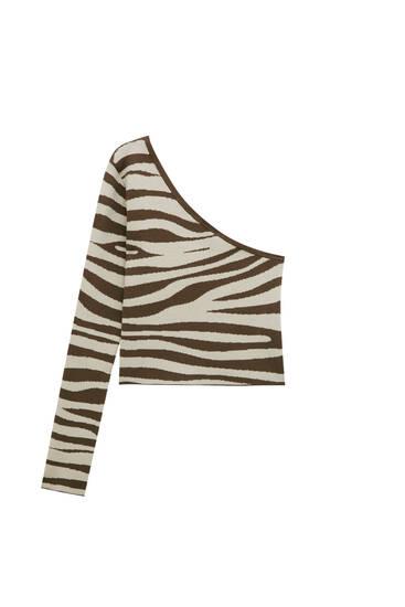 Asymmetric animal print sweater