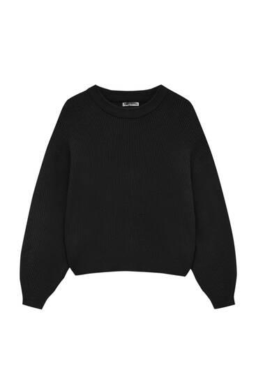 Purl-knit sweater