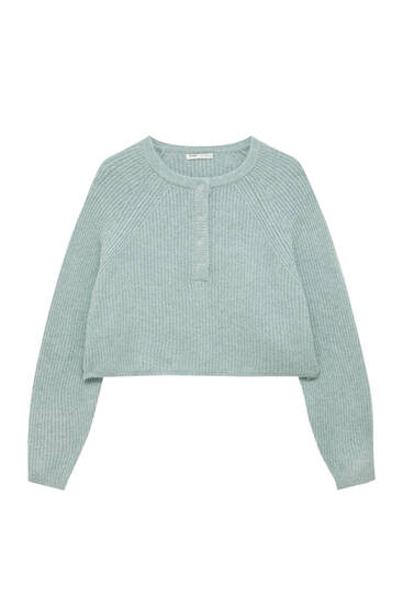 Henley sweater with snap buttons