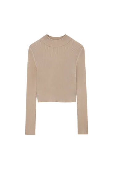 Cropped ribbed sweater with high neck